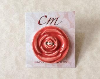 Deep Orange Coral Rose Porcelain Button-Large Rose Button-Deep Coral Red Button-Handmade Porcelain Button-Red Rose Button-Handcrafted Button