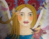 Angel Butterfly and Birds Encaustic  Painting Original, Bird, Butterflies, Dragonflies
