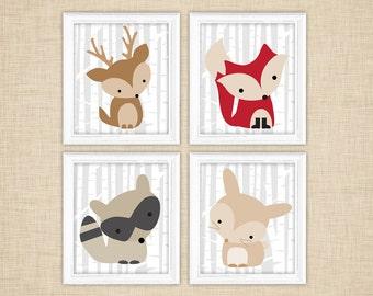 Printable Woodland Nursery Art - Fox Rabbit Raccoon Deer birch trees- instant download