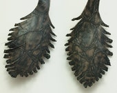 Two Black and Brown Leather Feathers 040