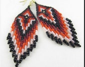 Native American Style Beadwork Fringe Seed Bead Earrings Dangle Chandelier in Red, Burgandy, Pink and Black