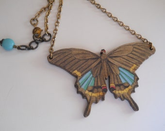 Butterfly Necklace on Gold Chain Decoupage Charm Nature Garden Jewellry Moth Insect Large Wood Pendant Adjustable Chain Length