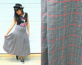 1970s Vintage Pendleton Wool Navy Cream and Red Plaid Pleated Skirt High Waisted Schoolgirl Maxi Long Size Extra Small