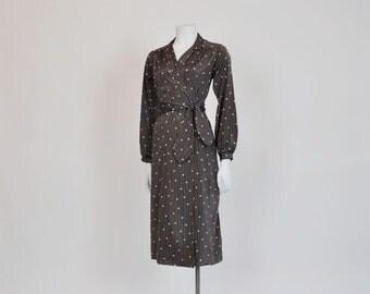 1970s dress / The Socialite Vintage 70s Lanvin Logo Print Shirt Dress
