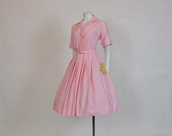 vintage dress / Pink Perfection Vintage 1950's Shirt 50s Dress Full Skirt Never Worn