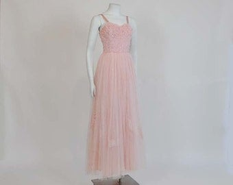 1950's Dress / Vintage 50's Pink Emma Domb Lace Tulle Prom Party Dress