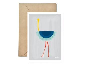 Flamingo Ballet - Blue Tutu - Greeting Card, Thank you Card, Birthday Card, Wedding Card Box, Animal Print, Valentine Card, Bridesmaid Gift