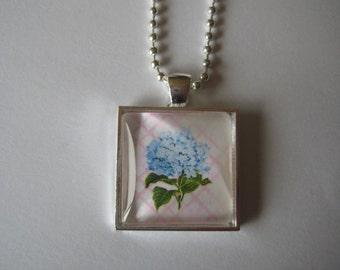 Pretty Floral Glass Tile Pendant