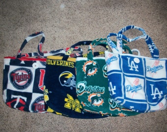 Fleece Diaper Bag (Minnesota Twins, Michigan Wolverines, Miami Dolphins or Los Angeles Dodgers)