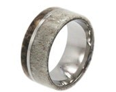 Mens Wedding Band, Titanium Ring, Buck Eye Burl Wood, Deer Antler Ring, Titanium Pinstripe