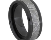 Black Ceramic Ring with Gibeon Meteorite Center and Beveled Edge, Non Traditional Wedding Band
