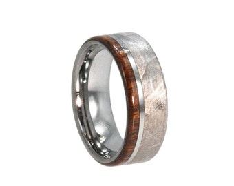 Handmade Meteorite Ring, Mens Wood Ring, Tungsten Wedding Band With Ironwood