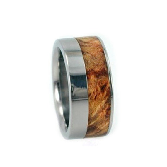 Offset Titanium Ring, Buckeye Burl Wooden Wedding Band, Interchangeable, Ring Armor Included