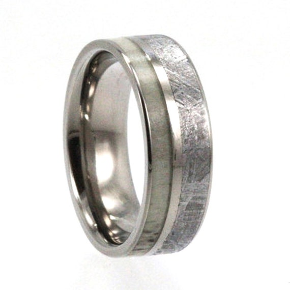 Deer Antler Wedding Band, Gibeon Meteorite Ring With A Titanium Pinstripe, Hunting Jewelry