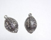 Pair of Rhinestone Football Charms Antique Silver-tone