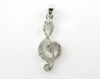 Silver-tone Gclef Music Symbol Pendant