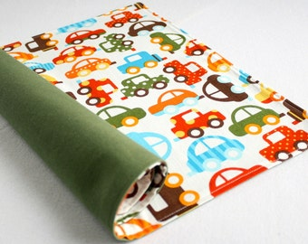 Kid's Organic Placemat - Eco Friendly, Reversible - Colorful Cars/Green