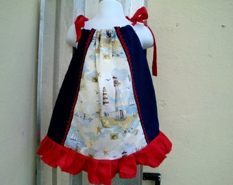 MARINE DRESS - Red, navy blue and a lighthouse
