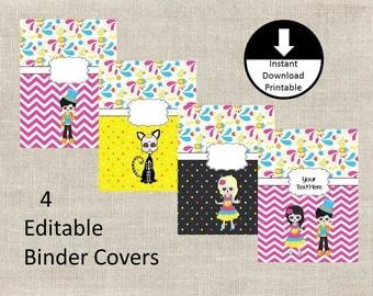 Binder Covers School Student Teacher Sugar Skulls PDF Jpeg PNG Set of 4  Editable Printable Instant Download