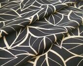 Vintage silk Japanese kimono fabric (black leaf) never used