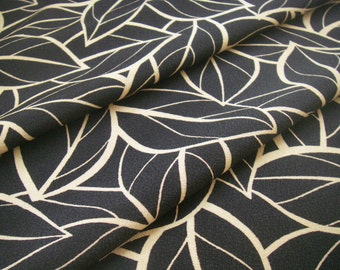 Vintage silk Japanese kimono fabric (black leaf) never used