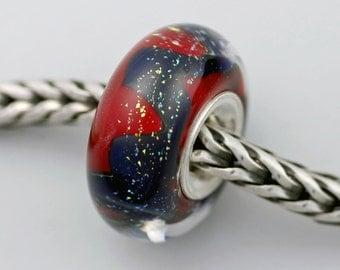 Unique Silvered Uniques Red Bead  - Artisan Glass Charm Bracelet Bead (JUN-38)