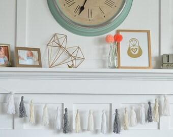 Yarn Tassel Garland - The Wynnie : White, Off White, Grey, Cream/Gold - wall, mantle, nursery, party decor!