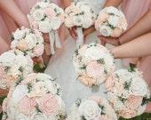Peach and Ivory Wedding Bouquet - sola flowers - choose colors - bridal bouquet- Alternative bouquet - bridesmaids bouquet