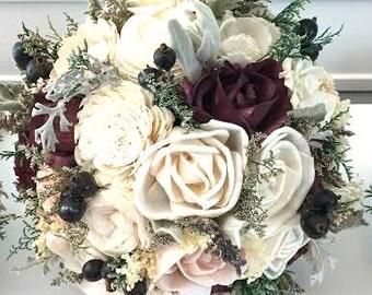 Burgundy / Wine Wedding Bouquet made with sola flowers - choose colors - Custom - Bridal bouquet - bridesmaids bouquet