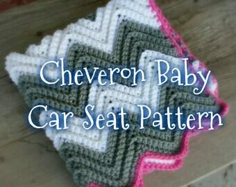 Crochet Cheveron Baby Car Seat Blanket Pattern