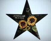 Black Sunflower Star Barn Star Spring wall hanging Fall decor Front door decoration