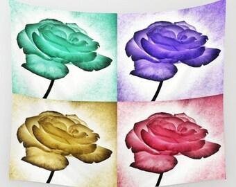 Roses POP Art Wall Tapestry, Large Flower Wall Art, Flower Tapestry, Pink Teal Purple Green Tapestry, Petals, Modern Decor, Nature, Dorm Art