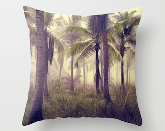 Jungle Palms Throw Pillow, Green Outdoor Pillow, Tropical Patio Decorative Pillow, Palm Tree, Surf, Nature,Tropical Forest Beach,Botanical