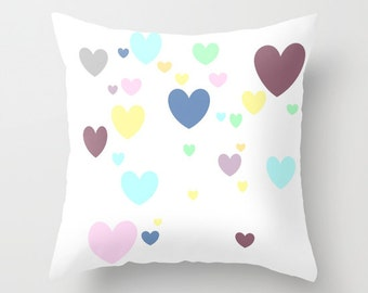 Heart Throw Pillow, Pastel Pillow, Home Decor, Decorative Pillow Cover, White Pillow, Graphic Design, Dorm Pillow, Love, Contemporary Pillow