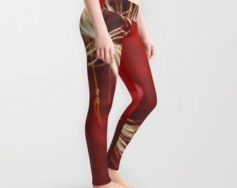 Dandelion Leggings, Red Dandy Yoga Pants, Unique Fashion, Vivid Yoga Leggings, Women, Teen Active Wear, Running Pants, Jogging, Surf, Flower