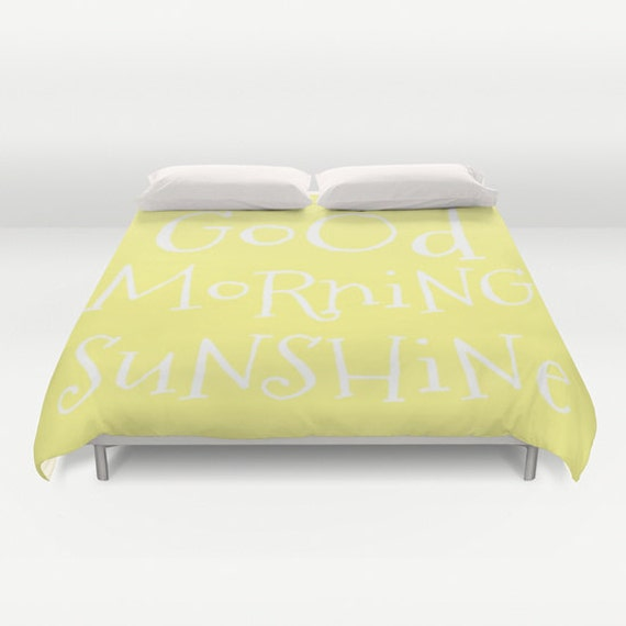 Good Morning Sunshine Duvet Cover, Made to Order, Text Bubble Bedding, Teal Blue Decorative Bedding, Love Comforter Cover,Sky Blue Bedding