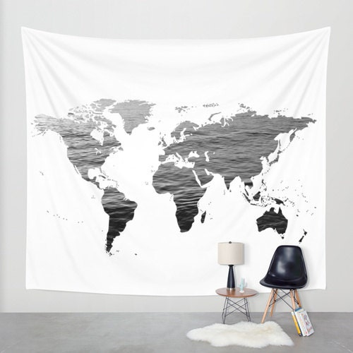 Sea Texture World Map Wall Tapestry Map Large Size Wall Art - Large world map black and white