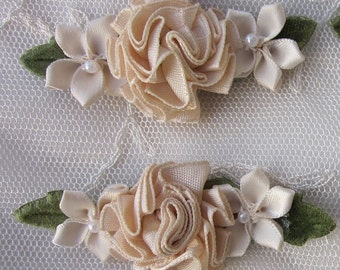 2 pc Champagne Tan Satin Ribbon Carnation Rose Pearl Beaded Flower Bridal Applique
