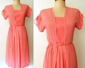 50% off Sale - 70s Dress / Peach Crochet Dress / 2 pc Dress Set / PEACHY KEEN