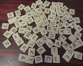 Lot of 84 Wood Scrabble Tiles Wooden Tile Modern Version