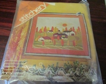 Vintage Spinnerin Stitchery Crewel Kit Autumn Sun Marjorie Gosz Sealed Kit Ready to Stitch