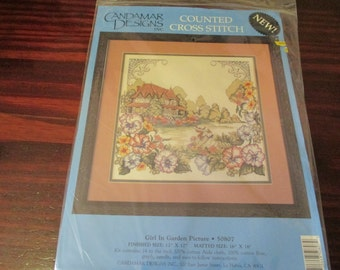 Counted Cross Stitch Kit Girl In Garden Candamar Cross Stitch Kit 50807 New in Package