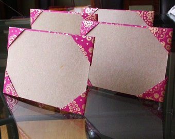set of 4 purple fuchsia metallic gold medallion origami frames