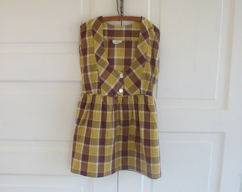 Vintage Girl Dress Child Jumper Size 6 Fall Yellow Brown Plaid Autumn Back to School