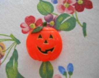 Vintage hard plastic Hallmark Pumpkin Pin Brooch