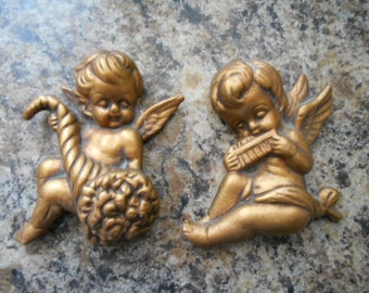 Vintage set of 2 ceramic gold angels wall hangings