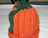 Crochet newborn  Infant or baby Pumpkin Hat, Burnt orange and dark green