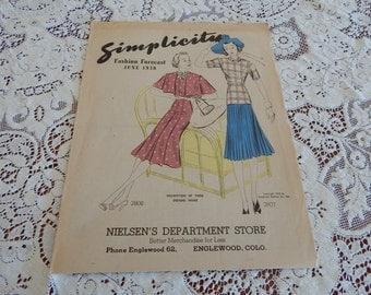 June 1938 Simplicity Pattern Co. Fashion Forcast - Fashion Designs - Pamphlet