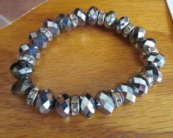 shiny glass beaded bracelet