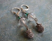 Sparkling Czech Glass and Crystal Silver Owl Dangle Earrings